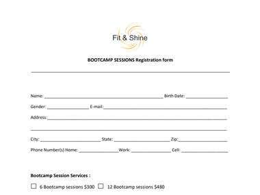 A client agreement form for fitness services