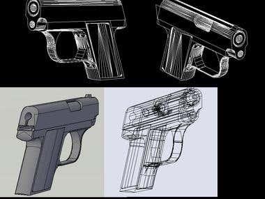 .25 Hand Gun in AutoCAD