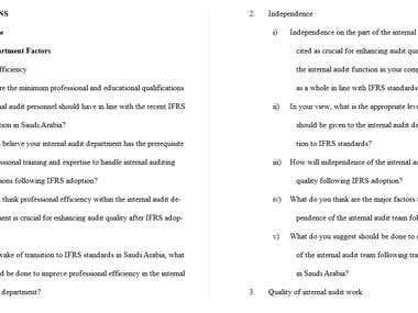 Audit Interview Question