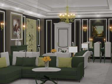 Interior design for a classic resception 3 pieces