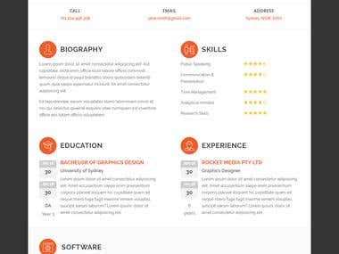 HTML5/CSS3 Responsive Resume Template