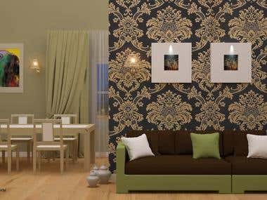 Interior design , a shot for a dinnig room