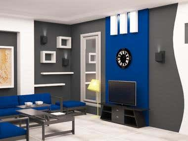 Interior design for a living room