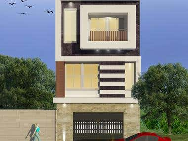 Modern Facade for a house contains on 3 floors