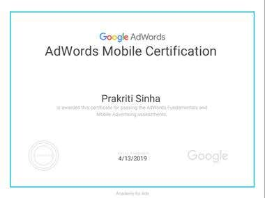 Google & mobile Adwords Certificate