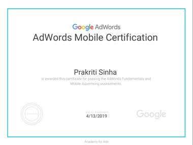 Google & mobile Adwords Certificate
