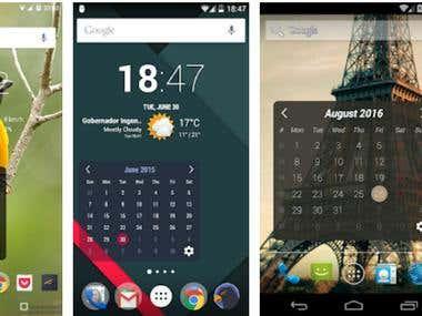 Monthly calendar widget app