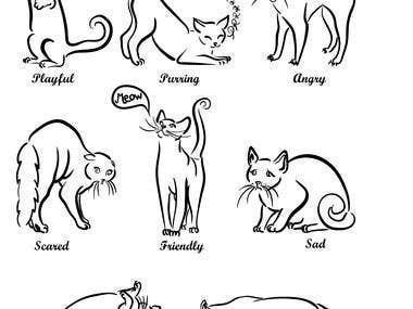 JAPANESE STYLE Cat book illustration