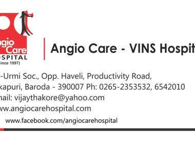 Business Card Design For Angiocare Hospital