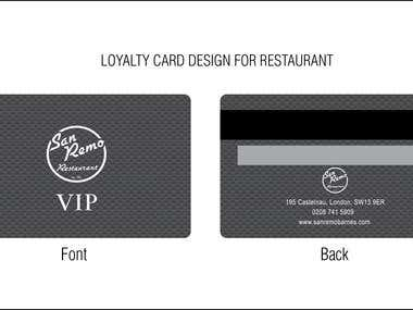 LOYALTY CARD Design for Restaurant