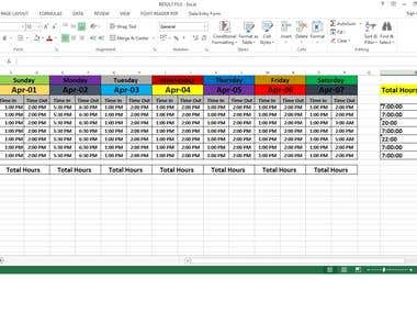 Excel Time-sheet Calculation for Company Employees