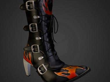Model of New Rock Flame boots