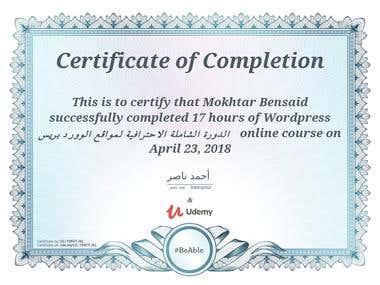 udemy certificate wordpress