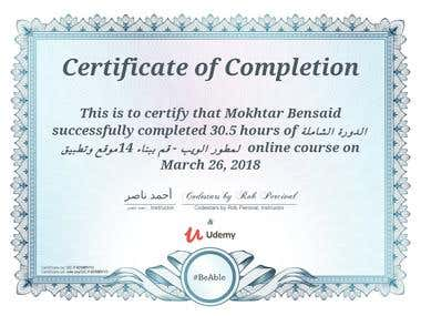 Udemy Certificate web developer