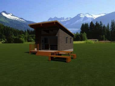 Design and Render of holiday cabin in Archicad.