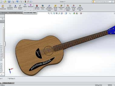 A classic Guitar made on solidwork and had manufactured