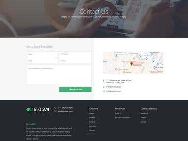 InstaVR Contact Us Webpage Mockup