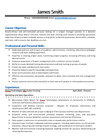Resume/CV for Project Manager Position