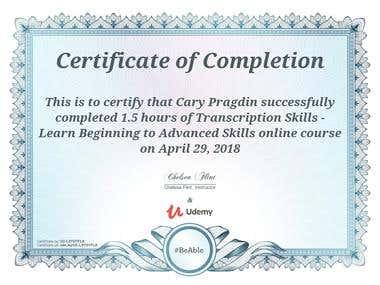 Transcription Certificate II
