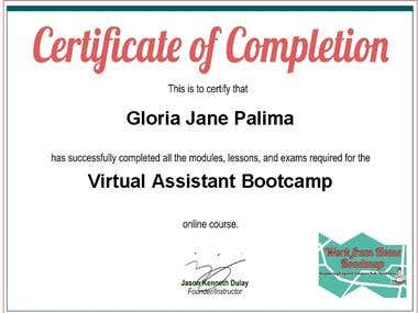 Virtual Assistant Bootcamp Certificate