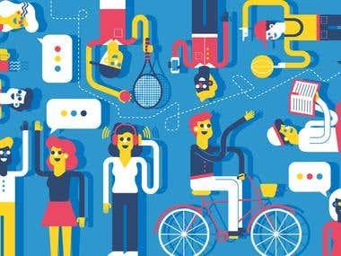 Editorial Illustration on leisure