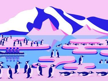 Antarctica editorial illustration