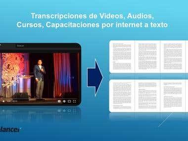 Transcripciones de Videos, Audios, Cursos a texto
