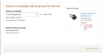 Amazon listing