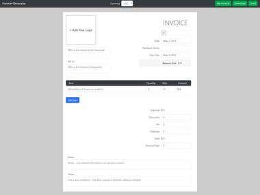 Invoice template managment , Node.js / React.js