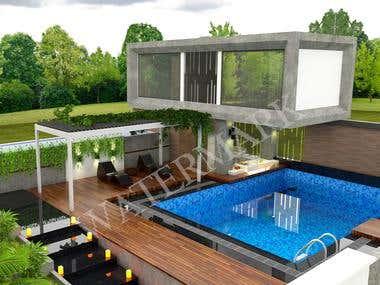 House Design Render/ swiming pool
