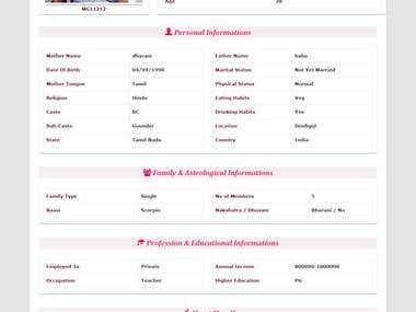 MATRIMONIAL WEB APP - MAANGALYAM