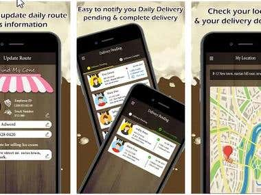 Driver app-UBER Concept app for ice cream delivery in USA
