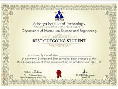 Certificate for Best Outgoing Student