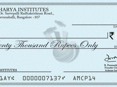 This is a pay cheque that i have made for the winners