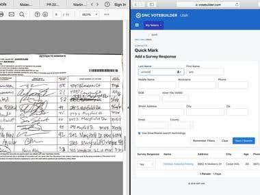 Data entry for internal website.