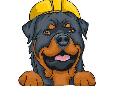 Rottweiler Construction Illustration