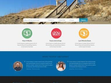 Homepage for vacation rental website