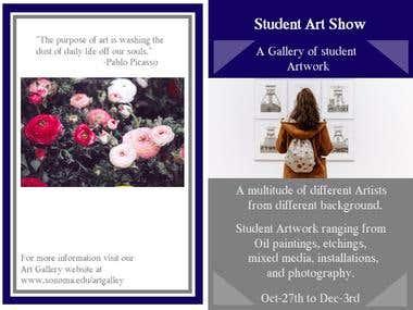 Mock Art Gallery pamphlet outside.