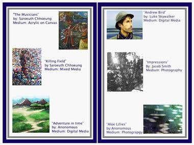 Mock Art Gallery Pamphlet design inside