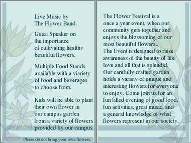 Flower viewing pamphlet outside