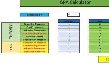 Excel GPA Calculator
