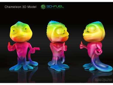 3d Chameleon Character