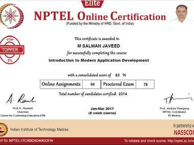 Certificate from IIT, Madras