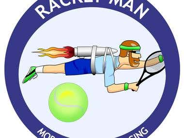 Logo for a mobile tennis racket restringing service...
