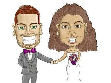 Caricatura para tarjeta matrimonial