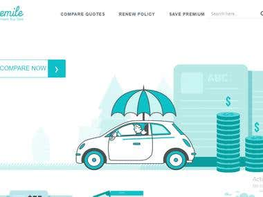 Insurance company website with mobile and tablet view