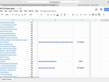 240 APPS(API) on WEB; 1 DAY ONLY; DATA ENTRY on GoogleSHEETS
