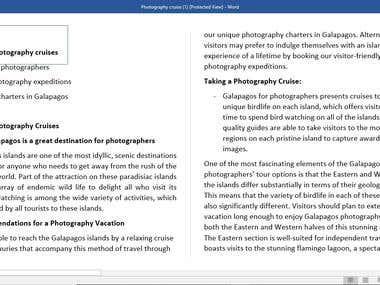 Galapagos Photography Cruises SEO Content