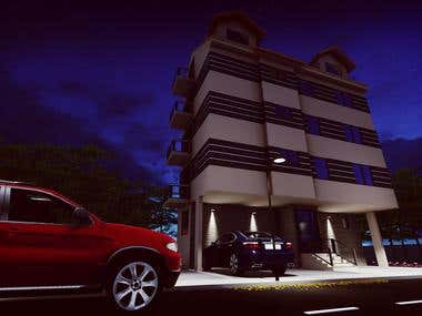 3D model of a residential building in Belgrade NIGHT - DAY