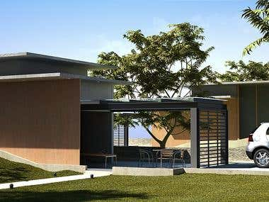 3d Exterior of a modern house